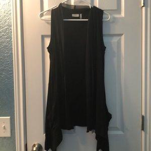 Lori Goldstein long vest with chiffon trim